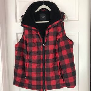 Puffy vest with cozy black lining.